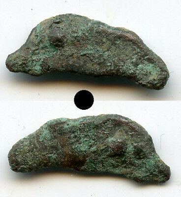 Ancient bronze AE21 dolphin-shaped coin, Olbia, Sarmatia, ca.5th/4th century BCE
