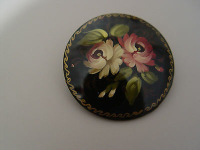 Russian handpainted lacquer pin brooch - black floral