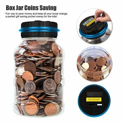 Electronic LCD Display Money Saving Box Jar Digital Piggy Bank For Kids US-ship