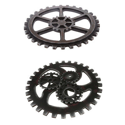 2Pcs Retro Industrial Style Wooden Gear Club Wall Hanging Decoration Black