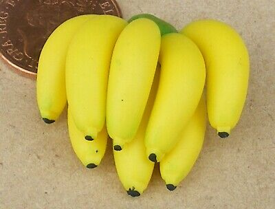 1:12 Scale Single Bunch Of Bananas Tumdee Dolls House Miniature Fruit Accessory