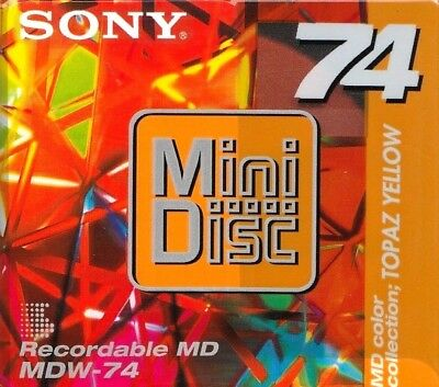 Sony Topaz Yellow Mdw-74 Recordable Blank Minidisc - Sealed