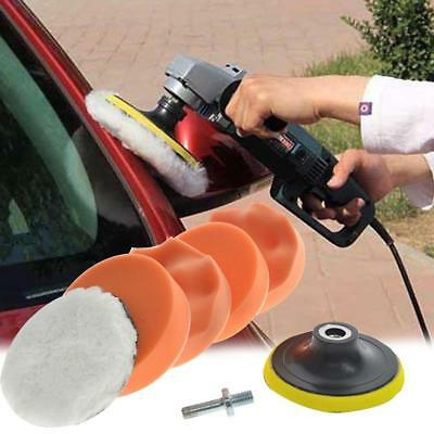 "7pc Auto Car Polish Wax 4"" Foam Sponge Pad Polisher Buffer Set+Drill Adapter Kit"
