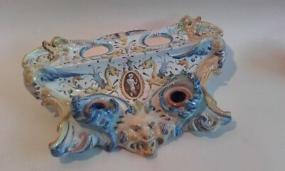 Antique L19thc Faience /  Majolica Inkstand / inkwell Renaissance style.