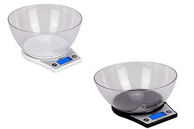 Electronic Digital 5000/1g Kitchen Cooking Black/White With Bowl Weighing Scales