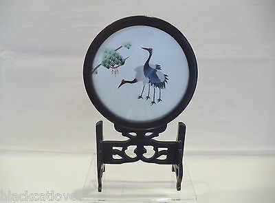 Vintage Japanese Silk Embroidery Table Screen Of Cranes Rosewood Stand Two Sided
