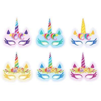 12pcs Rainbow Unicorn Sparkling Paper Masks Hats Kids Birthday Party Favors DIY
