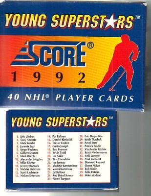 NHL Young Superstars HOCKEY Player Cards 1992 SCORE Box Set of 40 ~ Fast Ship!