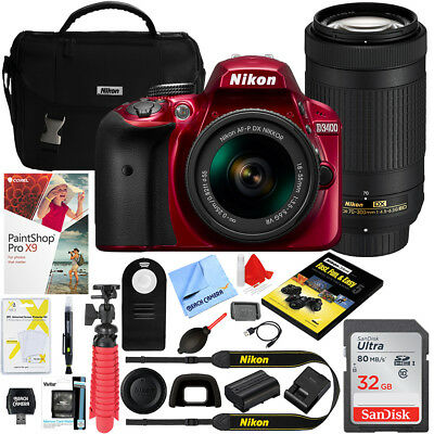 Nikon D3400 24.2MP DSLR Camera w/ AF-P 18-55mm VR & 70-300mm Lens + 32GB Kit Red