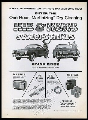 1969 VW Volkswagen Karmann-Ghia car photo One Hour Martinizing dry cleaning ad