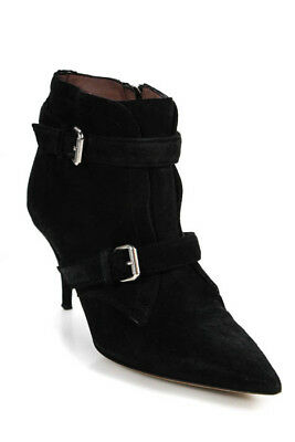 fbb233e1f3a7 Tabitha Simmons Black Suede Pointed Toe High Heel Ankle Booties Size 39 9