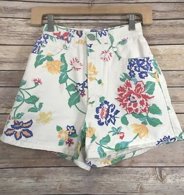 Vtg 90s BONGO Gene Montesano White Denim Floral High Waist Shorts Sz. 3 Grunge