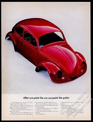1965 VW Beetle classic bug car red body shell photo 13x10 Volkswagen print ad