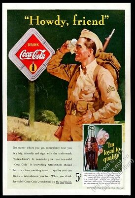 1942 Coke US Army soldier at road sign Coca Cola vintage print ad