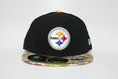 a73b5e9abf5 PITTSBURGH STEELERS 59 Fifty Hat Salute To Service Camo Bill NFL New ...