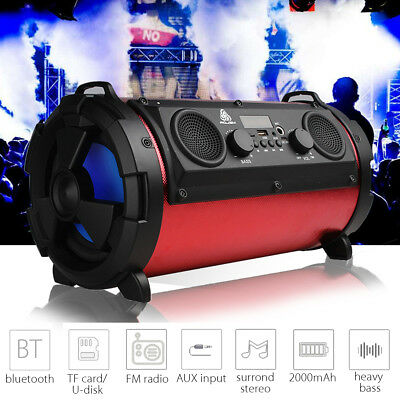 15W LCD Bluetooth Speaker Subwoofer Super Bass Stereo Wireless AUX USB TF FM US