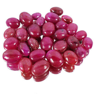 131 Ct+/29 Pcs Natural USA Pinkish Red Beryl Cab Drilled Beads Lot For Jewelry