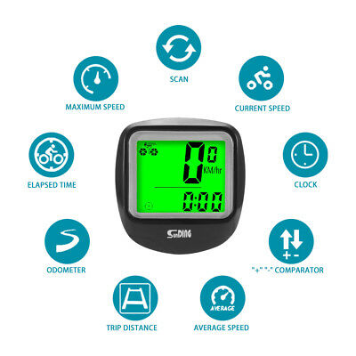 Waterproof Wireless Cycling Bike Computer LCD Bicycle Speedometer Odometer BI962