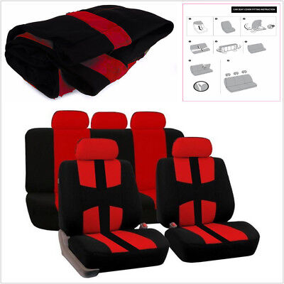 Universal Car Seat Covers Car-Styling Protector Cushion Red+Black For 5-Seat Car