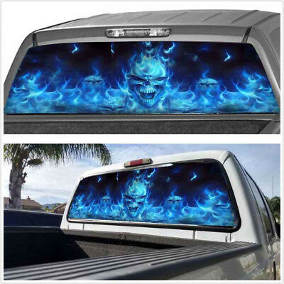 """1X Car Rear Window Flaming Skull Cool Sticker For Truck SUV Jeep (22""""x65"""" Large)"""