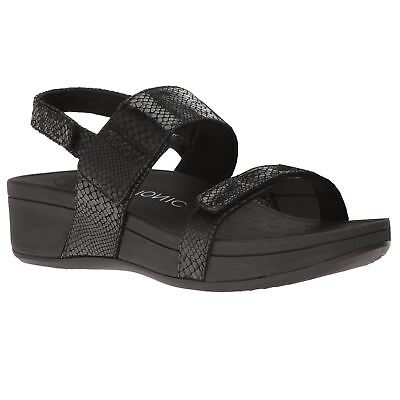 Vionic 382 Bolinas Pacific Black Snake Womens Leather Sandals