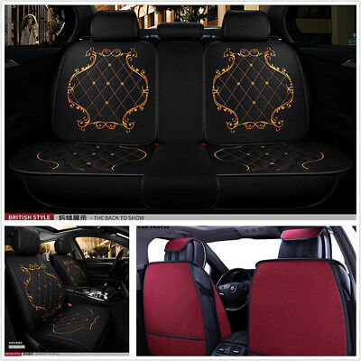 Breathable Comfortable Linen England Lace Style Car Seat Cover Protector Cushion