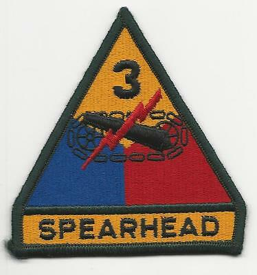 Us Army Patch - 3Rd Armored Division - Spearhead Tab - One Piece - Merrowed Edge