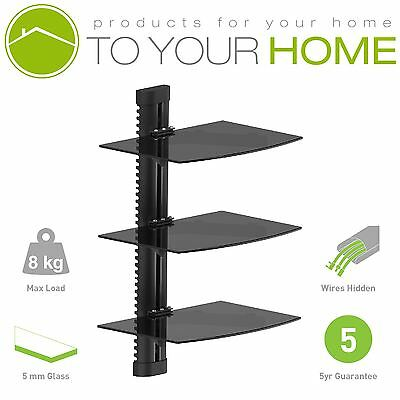 Black Floating Triple Three Glass Shelves Wall Mount Bracket Stand DVD Sky