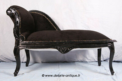 Louis Xv Bench French Style Seat  Vintage Furniture Black Velvet