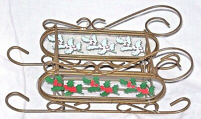 """8"""" Long NEW Gold Metal Wire Red Green Holly Sleigh Snow Sled Basket Heart"""
