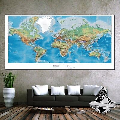 Huge large Banner Canvas Earth ocean World Map Classic Elite Print Wall Poster