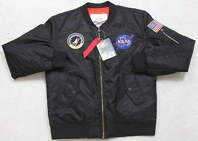166f6f351a14 New Bomber Jacket Coat XL Solid Black Polyester Lined Outerwear Nasa Flight  Mens