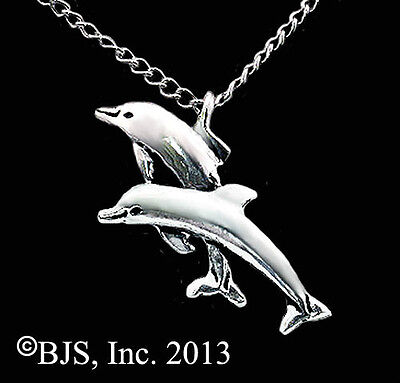 Double Dolphin Necklace, Silver Dolphin Pendant, Dolphins, Dolphin Jewelry
