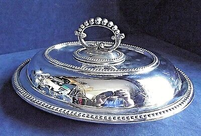 """SUPERB Large 12"""" ~ SILVER Plated ~ Family CRSTED ~ Ornate SERVING DISH ~ c1900"""