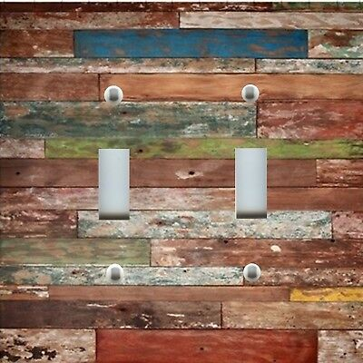 Light Switch Plate Cover RUSTIC HOME DECOR OLD PAINTED DISTRESSED PLANK WOOD 1