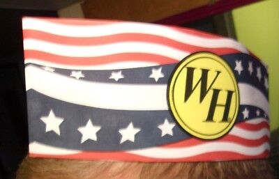 10 rare PATRIOTIC Waffle House Grill Operators Adjustable Paper Hat New From Box
