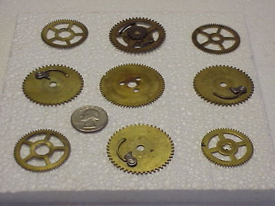 9 Assorted Used Brass Clock Gears Steampunk Altered Art Projects parts repair B