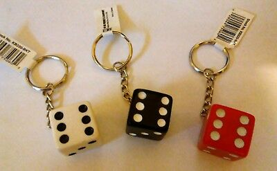 Key  Chain--Dice--3/4 Inch--Choice of Color--Red, Black or White