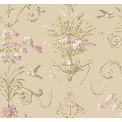 Wallpaper Wheat & Floral Acanthus Leaf Scroll Birds with Beads Taupe Lilac Green