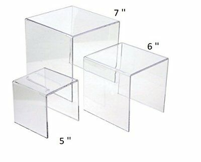 "Clear Acrylic Riser Set 3 Display Stand Risers Retail Jewelry Stands 5"" 6"" 7"""