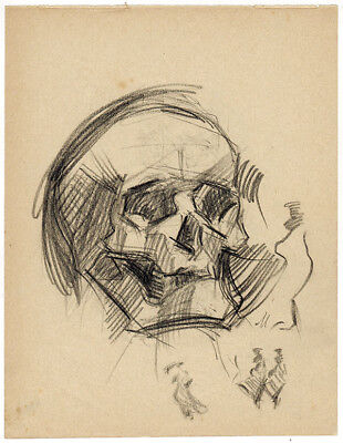 1914 Page from the school album of RUSSIAN ARTIST M.A.Markov SCULL & FIGURES