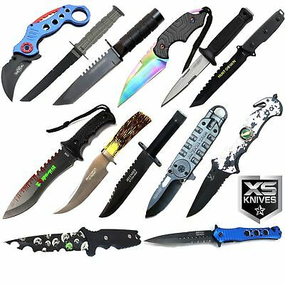 13PC Taictal Lot Full Tang Fixed Blade Spring Assisted & Karambit Knife
