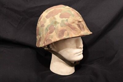 US WWII Steel Helmet With Liner and USMC Marine Corps Pacific Theatre Camo Cover