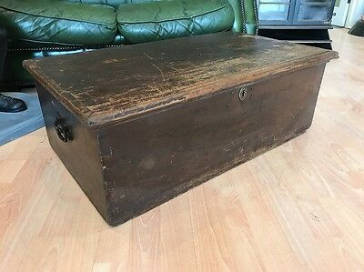 Antique Pine Storage Box Made In 1811 Cast Iron Handles Coffee FREE UK P&P🇬🇧