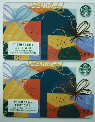 2 - New Starbucks Coffee Cards ' Happy Birthday ' 2018 #6154 Mint No Value