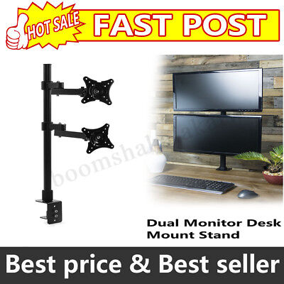 14~24'' Two Lcd Screen Dual HD Led Monitor Stand TV Desk Mount Bracket Flat AU
