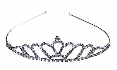 Grace Clear Rhinestone Tiara Crown Headband Wedding Bridal Prom Pageant Jewelry