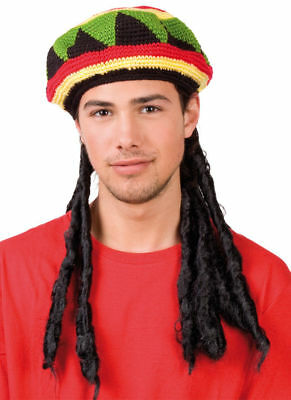 4ca4059cf NEW NOVELTY REGGAE Jamaican Fancy Dress Hat With Dreadlocks Rasta Party  Jamaica