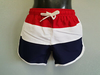 BNWT Boys Sz 5 White Soda Brand Nautical Red Navy White Swimming Shorts Trunks