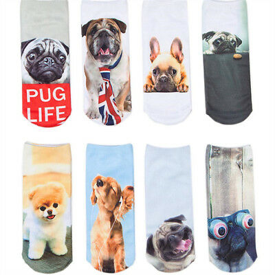 Women Mens Short Socks Funny 3D Dog Printed Ankle Socks Casual Socks Cute Animal